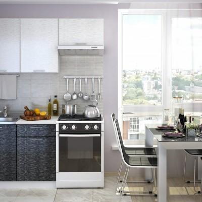 Кухня «Валерия» 1,6 м (металлик белый / серый) модульная