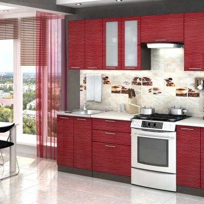 Модульная кухня «Валерия» 2,4 м (страйп красный)
