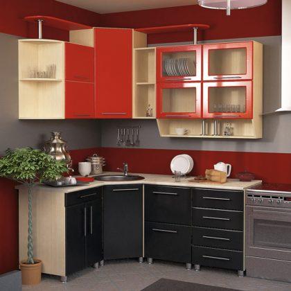 Кухонный гарнитур Dolce Vita-15 (клен-красный мет.-черный мет.)