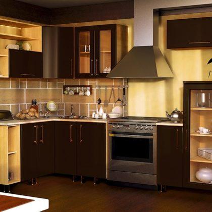 Кухонный гарнитур Dolce Vita-19 (клен-шоколад глянец)