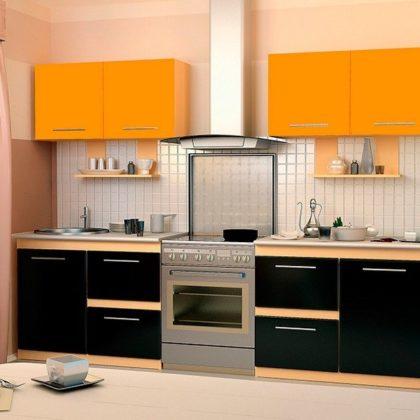 Кухонный гарнитур Dolce Vita-20 (клен-оранжевый-черный) МДФ