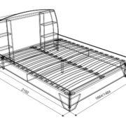 """Кровать двухспальная """"Виктория-1"""" 1,4/1,6 м (схема)"""