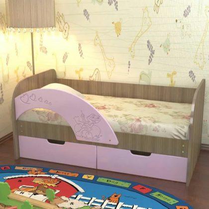 """Детская кровать """"Витамин-7"""" розовый матовый 1,6 м"""