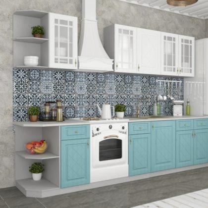 """Модульная кухня """"Гранд"""" (белый/зеленый) 2,2 м"""