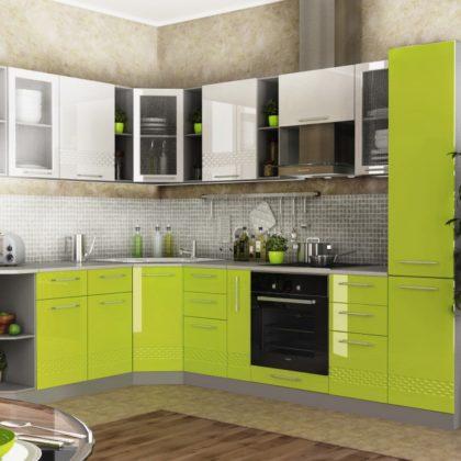 """Модульная кухня """"Капля"""" (белый/лайм) 1,95* 2,85 м"""