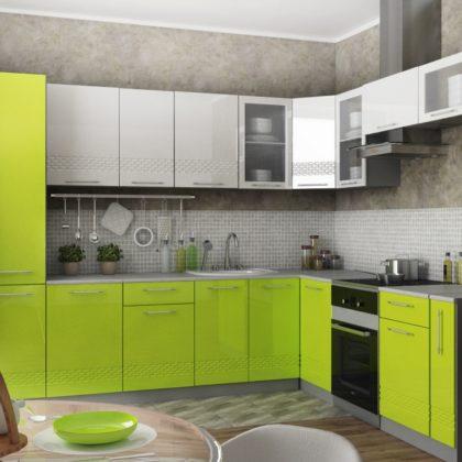 """Модульная кухня """"Капля"""" 2,6*2,2 м (белый/лайм)"""