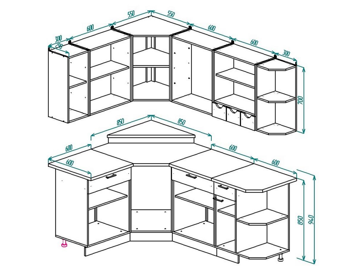 Чертежи кухонных секций. Нижние типовые секции 70