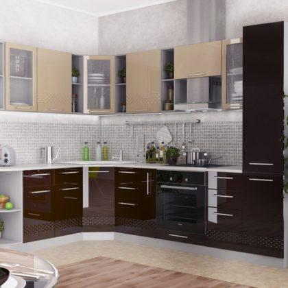 """Модульная кухня """"Капля"""" (кофе с молоком/шоколад) 1,95*2,85 м"""