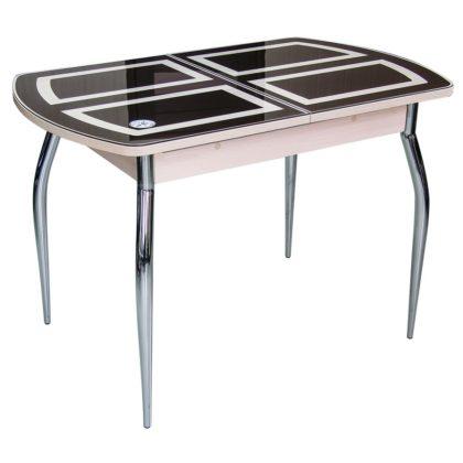 Стол обеденный «Asti-01» (опора гнутая хром) дуб/стекло