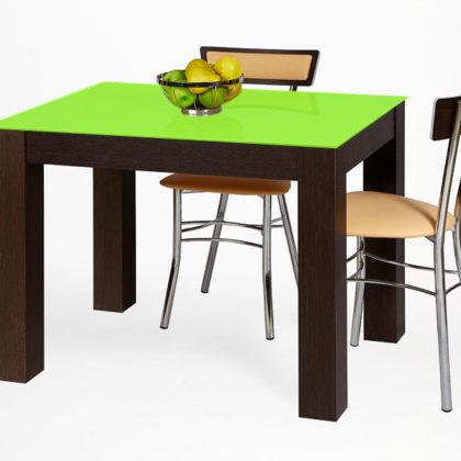 Стол обеденный «Твист» (венге премиум/стекло лайм)