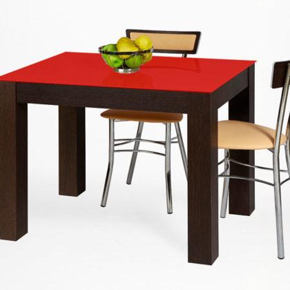 Стол обеденный «Твист» (венге премиум/стекло глубокий красный)
