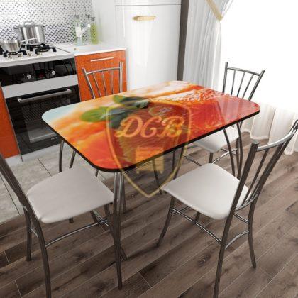 """Стол обеденный стеклянный фотопечать """"Апельсин"""""""