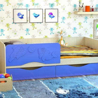 Кровать «Дельфин-2» МДФ белфорд/васильковый