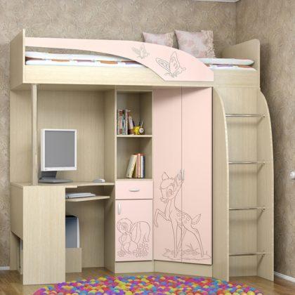 Кровать-чердак «Беби» розовый