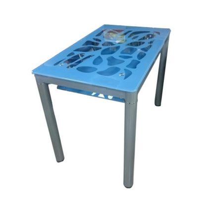 Стол обеденный В 828-2 (стекло голубое)