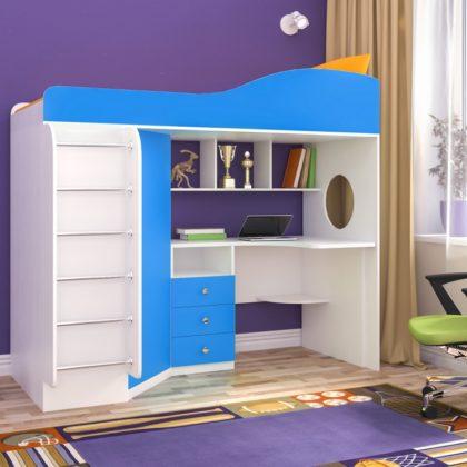 """Кровать чердак """"Кадет-1"""" с металлической лестницей белое дерево/голубой"""