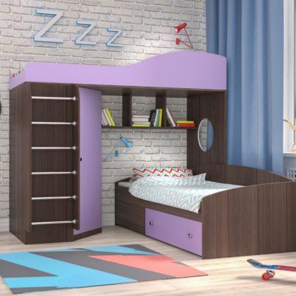 """Кровать чердак """"Кадет-2"""" с металлической лестницей бодего/ирис"""