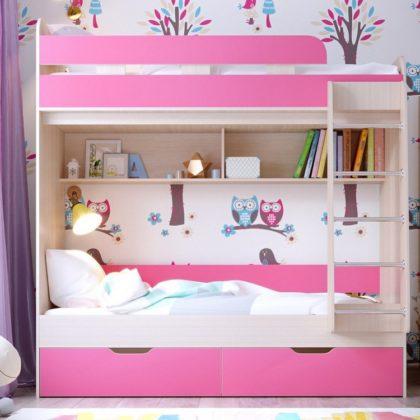 """Кровать двухъярусная """"Юниор-5"""" дуб молочный/розовый"""
