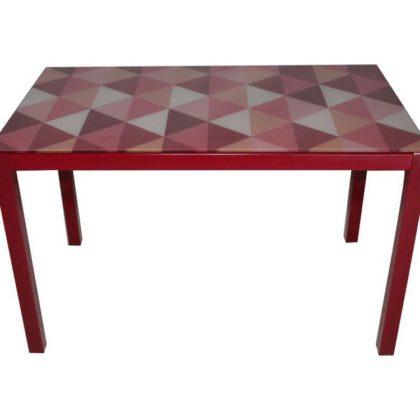 Стол обеденный DТ 318 бело-красный (каркас красный)