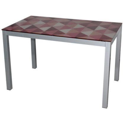 Стол обеденный DТ 318 бело-красный (каркас серый)