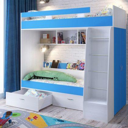 """Кровать двухъярусная """"Юниор-6"""" белое дерево/голубой"""