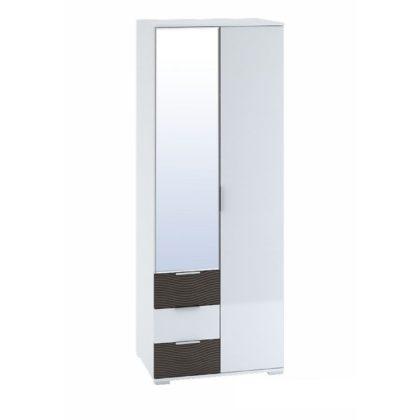 """Шкаф 2-створчатый с ящиками 800 """"Терра"""" (белый/венге/белый глянец) ШК-822"""