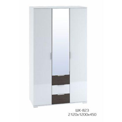"""Шкаф 3-створчатый с ящиками 1200 """"Терра"""" (белый/венге/белый глянец) ШК-823"""