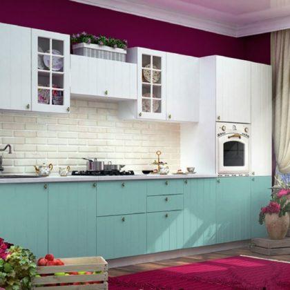 """Модульная кухня """"Прованс"""" (белый/голубой)"""