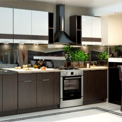 """Модульная кухня """"Терра"""" (венге/белый глянец, декор венге)"""