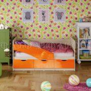 """Кровать детская """"Бабочки"""" 1,6 м (оранжевый металлик)"""