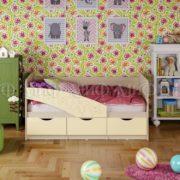 """Кровать детская """"Бабочки"""" 1,6 м (ваниль матовый)"""
