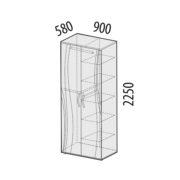 """Шкаф двухдверный многофункциональный """"Соната"""" 98.13 схема"""