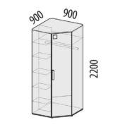"""Шкаф для одежды угловой левый/правый """"Фристайл"""" 56.02 схема"""