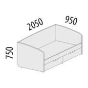"""Кровать """"Тиффани"""" 93.05 схема"""