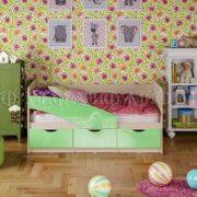 """Кровать детская """"Бабочки"""" 2,0 м (салатовый металлик)"""