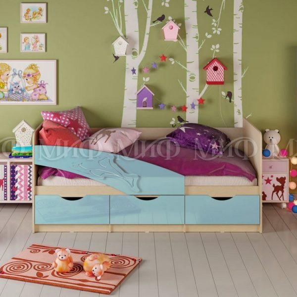"""Кровать детская """"Дельфин"""" 1,6 м (голубой металлик)"""
