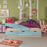 """Кровать детская """"Дельфин"""" 1,8 м (голубой металлик)"""