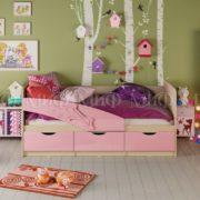 """Кровать детская """"Дельфин"""" 1,6 м (розовый металлик)"""