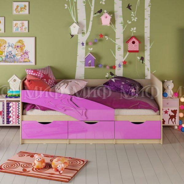 """Кровать детская """"Дельфин"""" 2,0 м (сиреневый металлик)"""