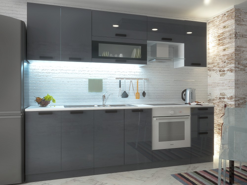 Крашеная кухня серая сатин фото