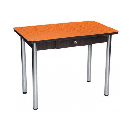 Стол Дачный с ящиком цветы оранжевые