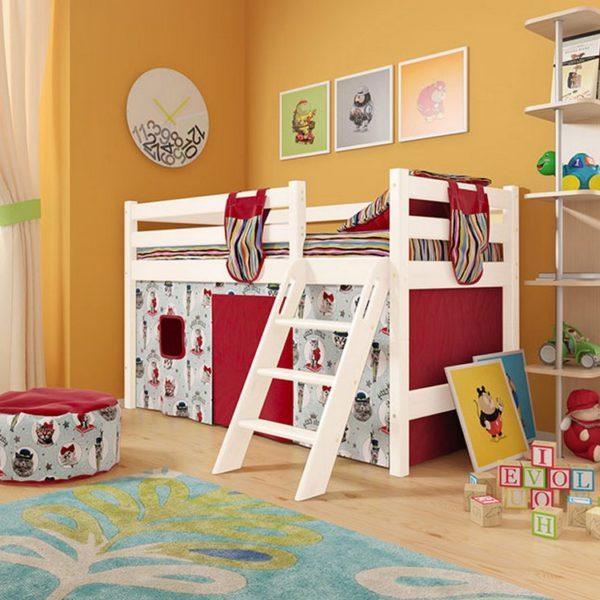 """Кровать низкая """"Соня"""" (вариант 12) с наклонной лестницей"""