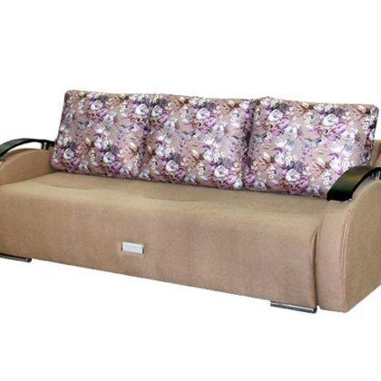 """Диван-кровать """"Турин"""" (цветы коричневый/галактика песочный)"""