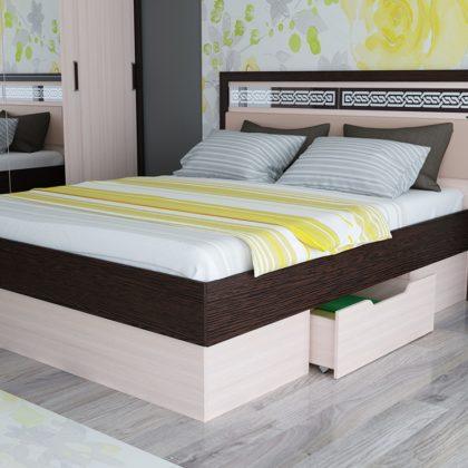"""Кровать двуспальная """"Равена"""" 1,6 м (венге/дуб молочный)"""