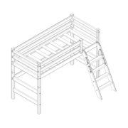 """Кровать полувысокая """"Соня"""" (вариант 6) с наклонной лестницей 1 схема"""