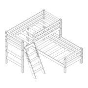 """Кровать угловая """"Соня"""" (вариант 8) с наклонной лестницей 1 схема"""