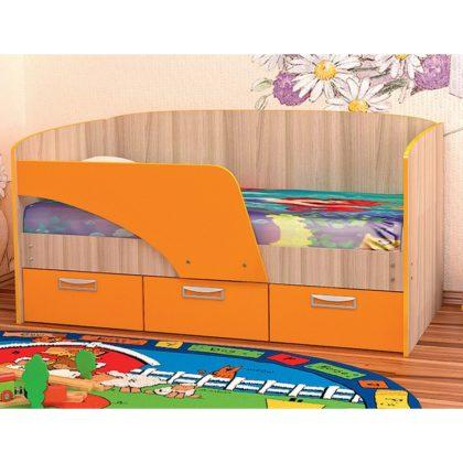 """Кровать детская """"Vitamin-6"""" ясень шимо светлый/оранж"""