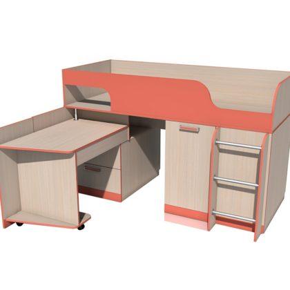 """Кровать детская с поворотным столом НМ 011.55 М """"Рико"""" (коралл)"""