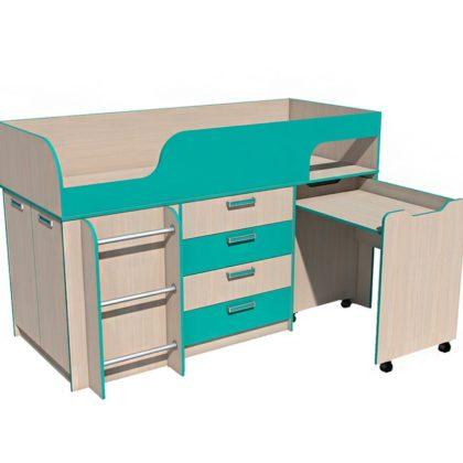 """Кровать детская с выкатным столом НМ 011.56 М """"Рико"""" (аква)"""