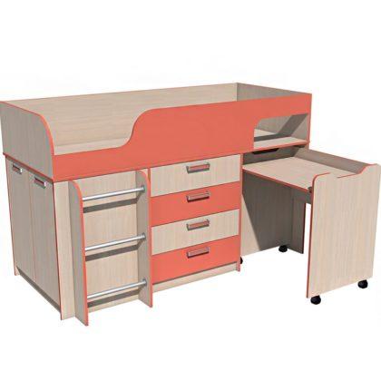 """Кровать детская с выкатным столом НМ 011.56 М """"Рико"""" (коралл)"""